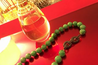 The Kwans' Burmese Jadeite and Black Spinel Silver Necklace!