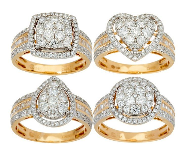 78de42c495ee7 QVC) 1.00 cttw Cluster Diamond Ring 14K Gold by Affinity ...